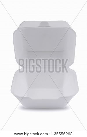 horizontal front view of an open empty white meal foam tray pack isolated