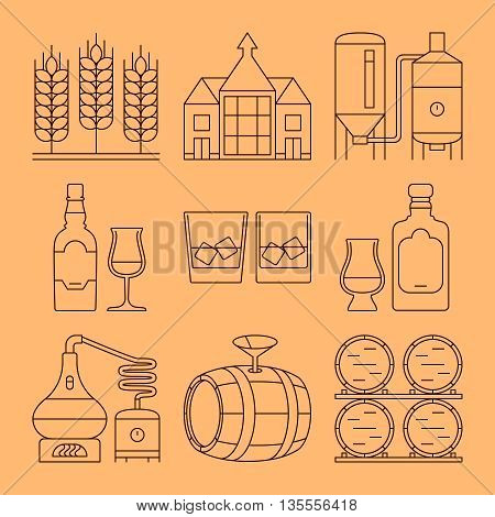 Whisky line vector icons set. Whisky process and industry outline symbols. Vector illustration
