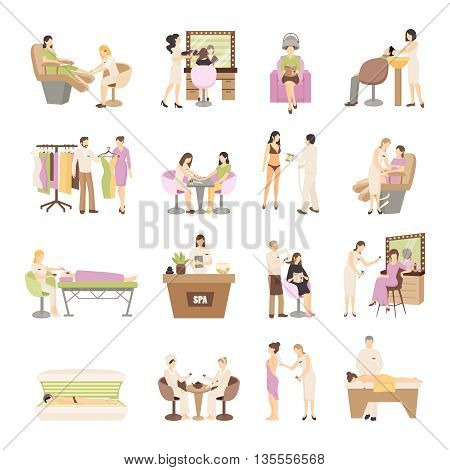 People in spa salon and various beauty procedures on white background isolated flat vector illustration