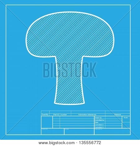 Mushroom simple sign. White section of icon on blueprint template.