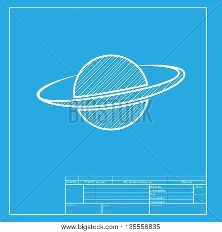 Planet in space sign. White section of icon on blueprint template.