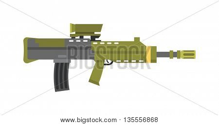Vector assault rifle heavy sniper futuristic weapon with grenade launcher military large arms carbine gun.