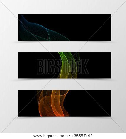 Set of banner wave design. Transparent banner for header in orange blue red green colors on black background. Design of banner in spectrum style. Vector illustration