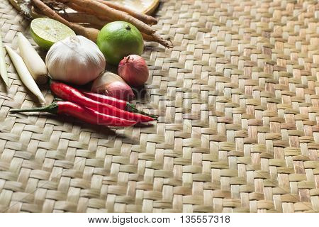 Traditional Thai food cuisine Herb ingredient on wicker basketry texture handmade