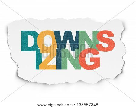 Finance concept: Painted multicolor text Downsizing on Torn Paper background