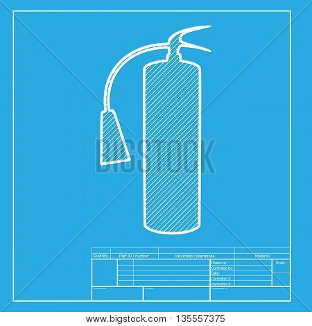 Fire extinguisher sign. White section of icon on blueprint template.