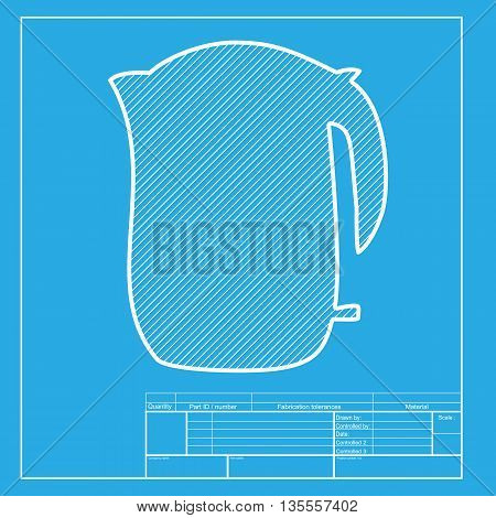 Electric kettle sign. White section of icon on blueprint template.