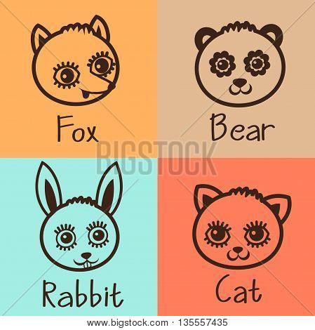 Cartoon Animals Head Icon Vector Set. Cat Bear Rabbit Fox Faces. Simple Line Illustration. Animals Head Mask.