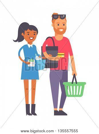 Shopping couple family vector illustration.