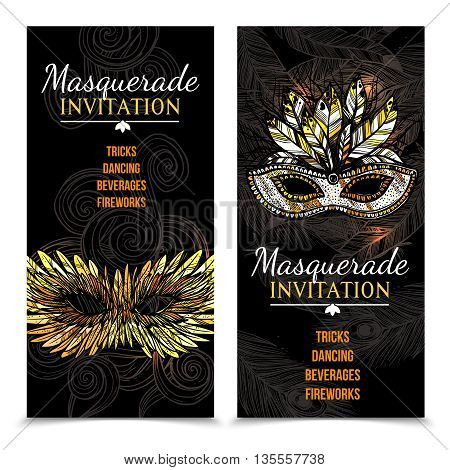 Vertical masquerade carnival invitation banners with colorful feather mask on dark backgrounds with feathers and patterns hand drawn isolated vector illustration