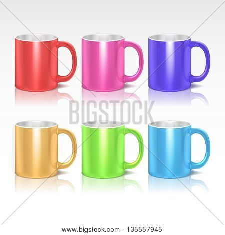 Color realistic ceramic coffee, tea mugs vector set. Colored mugs with handle, collection of mugs illustration