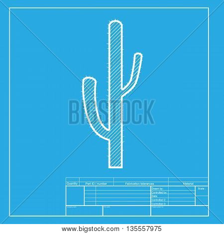 Cactus simple sign. White section of icon on blueprint template.