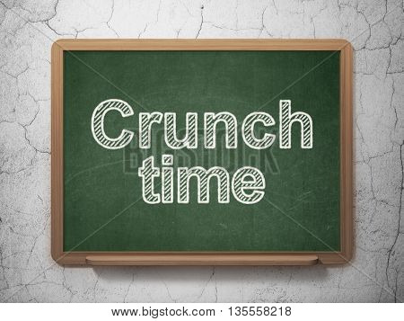 Business concept: text Crunch Time on Green chalkboard on grunge wall background, 3D rendering