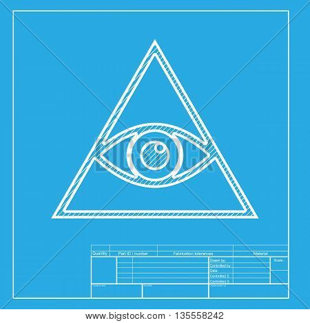 All seeing eye pyramid symbol. Freemason and spiritual. White section of icon on blueprint template.