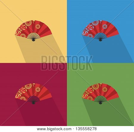 Vector illustration japanese flat fan with flowers