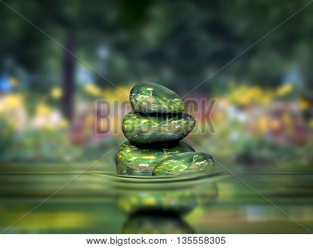 spa concept Zen beautiful stones water nature