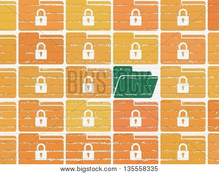 Finance concept: rows of Painted orange folder with lock icons around green folder icon on White Brick wall background