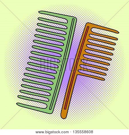 Comb hairdresser Pop art vector illustration. Beautiful comic style. Hand drawn