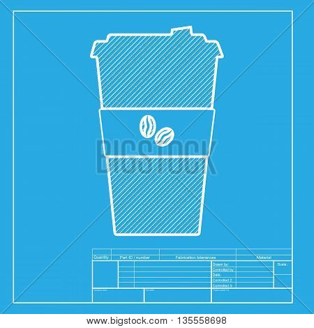 TV microphone sign illustration. White section of icon on blueprint template.
