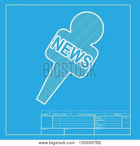 TV news microphone sign illustration. White section of icon on blueprint template.