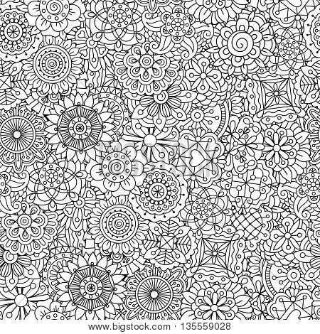 Detailed floral disk shapes as seamless pattern with subtle heart and radiating wavy objects