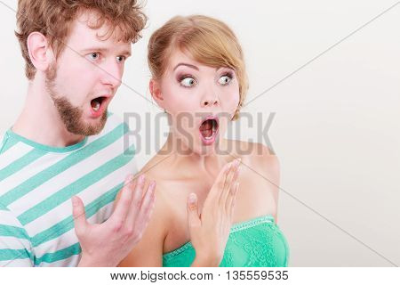 Wide Eyed Couple Surprised Expression Open Mouth