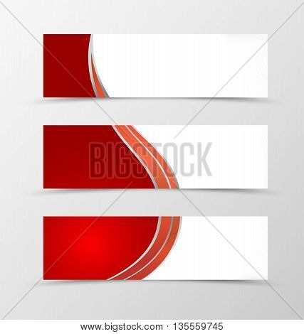 Set of banner wave design. Red banner for header with silver lines. Design of banner in minimalistic style. Vector illustration