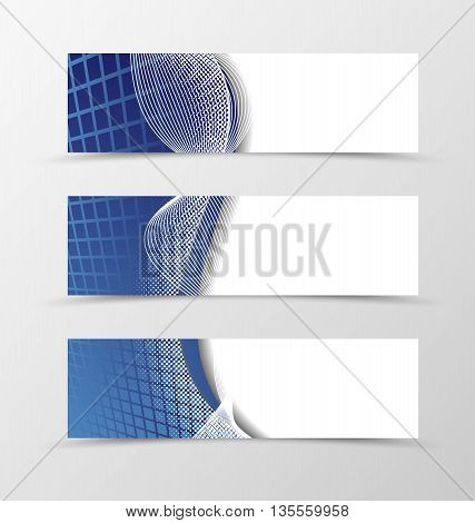 Set of banner grid design. Blue banner for header with silver lines. Design of banner in net style. Vector illustration