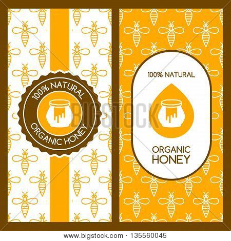 Set Of Vector Honey Backgrounds For Label, Package, Banner. Seamless Pattern With Linear Bees. Honey