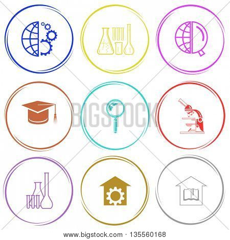 globe and gears, chemical test tubes, globe and magnifying glass, graduation cap, lab microscope, repair shop, library. Science set. Internet button. Vector icons.