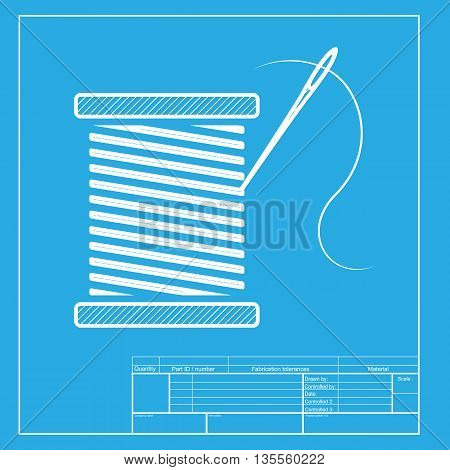 Thread with needle sign illustration. White section of icon on blueprint template.
