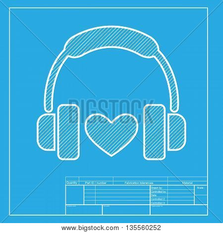 Headphones with heart. White section of icon on blueprint template.