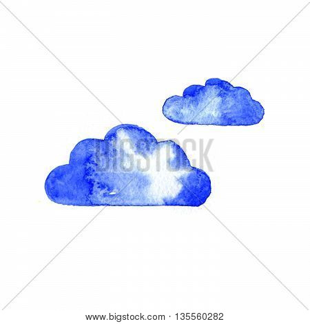 Watercolor blue clouds set isolated on white background. Hand painting