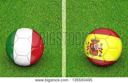 Team balls for Italy vs Spain football tournament match, 3D rendering