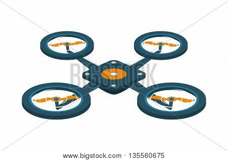 Drone concept represented by robot  icon over flat and isolated background