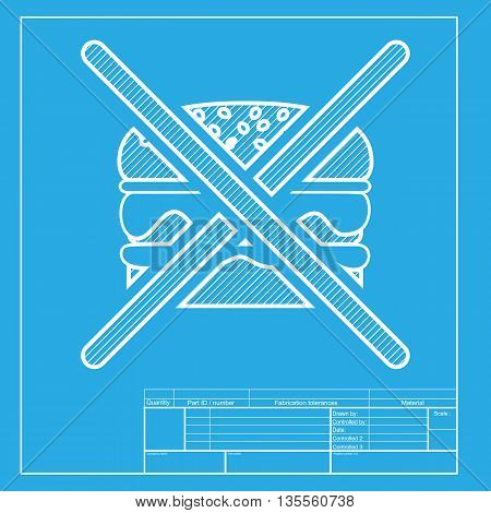 No burger sign. White section of icon on blueprint template.