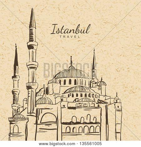 Vector Illustration Of Blue Mosque On Vintage Paper Background. Sultanahmet Camii Hand Drawn Sketch.