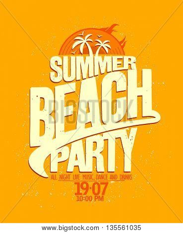 Summer beach party bright yellow design.