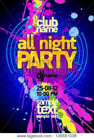 Fresh blue all night party design mock up, vibrant pink and yellow blots, copy space for text
