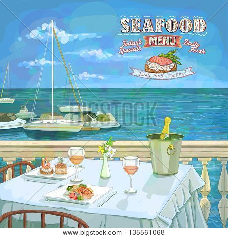 Seafood menu hand drawn illustration, served restaurant table for two on the sea beach, against seascape with yachts