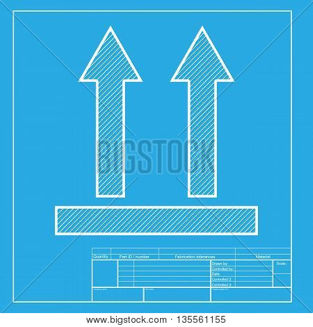 Logistic sign of arrows. White section of icon on blueprint template.
