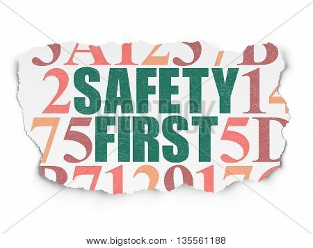 Safety concept: Painted green text Safety First on Torn Paper background with  Hexadecimal Code