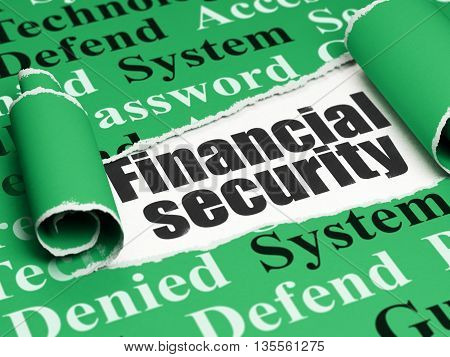 Safety concept: black text Financial Security under the curled piece of Green torn paper with  Tag Cloud, 3D rendering