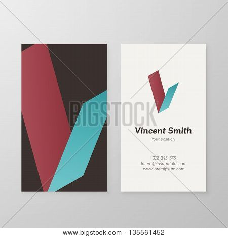 Business card with isometric letter V template. Vector business card editable design.