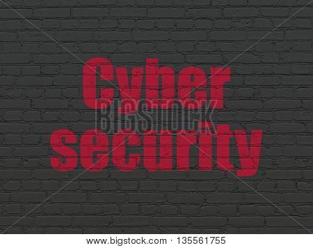 Protection concept: Painted red text Cyber Security on Black Brick wall background