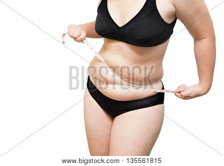 fat woman show and  squeeze tighten body fat by measure tape or line tape wearing black underwear bra on white isolated
