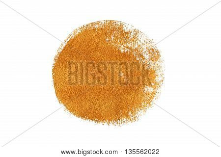 Golden grungy brush stroke painted on white background. Golden painted circle.