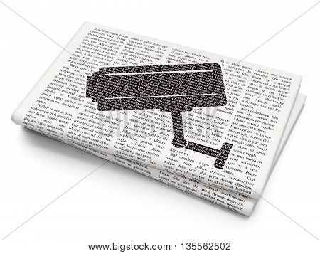 Privacy concept: Pixelated black Cctv Camera icon on Newspaper background, 3D rendering