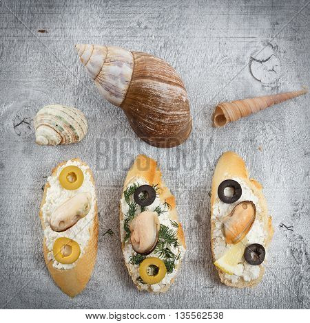 Tasty various italian sandwiches with seafood against rustic wooden background. Crostini with cheese mussels and sliced olives top view