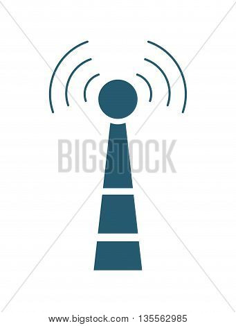 Signal concept represented by antenna icon over flat and isolated background